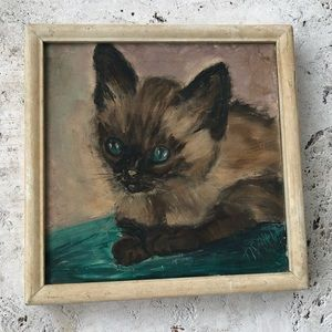 Amazing Vintage Kitty Cat Original Painting